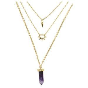 Fashion purple crystal three levels golden necklac